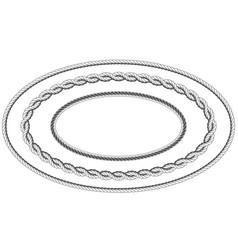 Twisted rope frame of oval shape - elliptic border vector