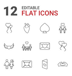 12 heart icons vector image