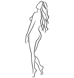 Abstract outline of female half turn back vector image
