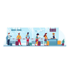 Airport people in masks travel social distance vector