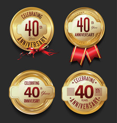 Anniversary retro golden labels collection 40 vector