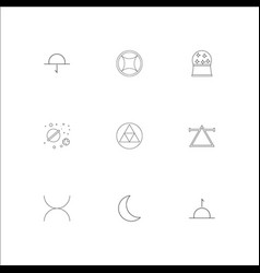 Astrology outline icons set vector
