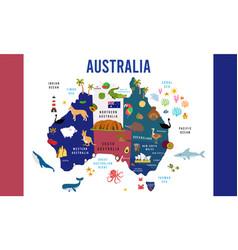 Australia map animal flat design vector