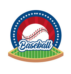Baseball game sticker with ball and field vector