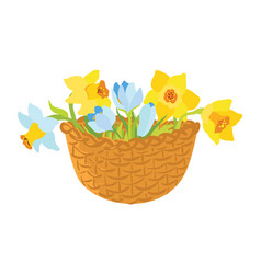 Basket with spring flowers vector