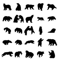 Bear silhouettes set vector image