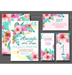 Beautiful set invitation cards with watercolor vector
