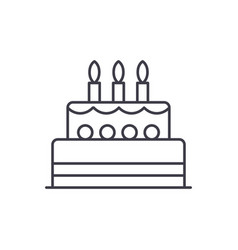 birthday cake line icon concept birthday cake vector image