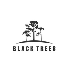 Black trees logo designs vector