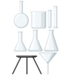 blank beakers and metal stand vector image