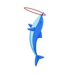 Blue dolphin with ring iconcartoon vector