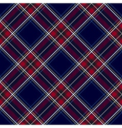 Blue red diagonal check plaid seamless pattern vector