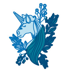 Blue silhouette of unicorn face with floral vector