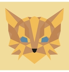 Brown and yellow low poly cat vector