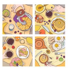 bundle of top views of served breakfast meals vector image