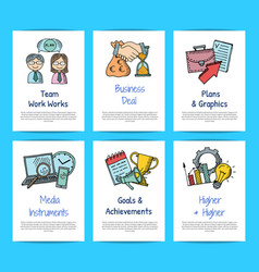 business doodle icons card templates set vector image