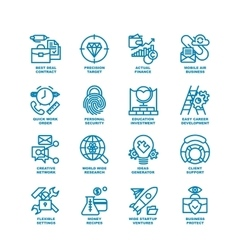 Business Fat Line Icon set vector image