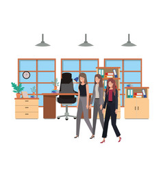 Business women in work office avatar character vector