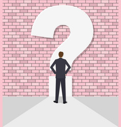 Businessman rests against a wall with a question vector