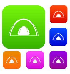 camping dome tent set color collection vector image