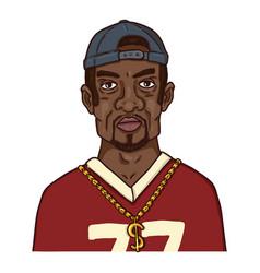 Cartoon character - afroamerican man in hip-hop vector