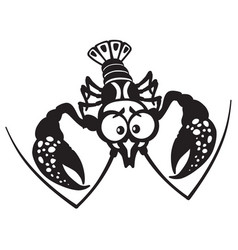 cartoon crayfish black white vector image