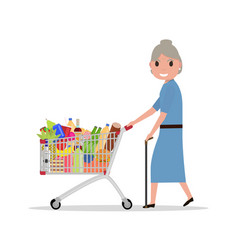 cartoon old woman with shopping trolley vector image