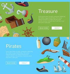 cartoon sea pirates banner templates vector image
