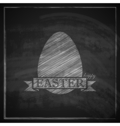 Chalk easter with egg and ribbon on blackboard vector