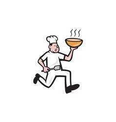 Chef Cook Running Holding Bowl Cartoon vector image