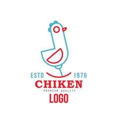 chicken premium quality estd 1976 logo retro vector image
