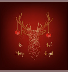 Christmas card with golden deer decorated by balls vector