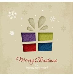 Christmas gift on a snowy background vector image vector image