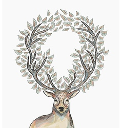 Christmas reindeer circle leaves composition EPS10 vector