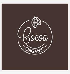 cocoa lettering logo round linear logo cocoa vector image