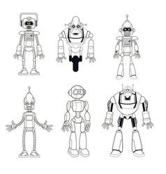collection robots technology smart thin line vector image