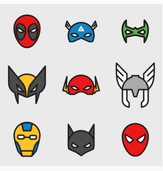 Comic superhero masks set vector