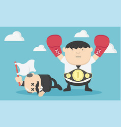 concept happy businessman with boxing fighting vector image