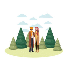 couple with winter clothes and winter pines avatar vector image