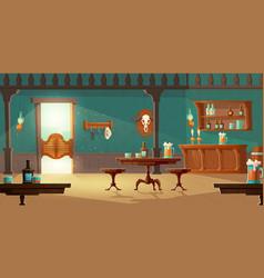 Cowboy saloon western retro bar empty interior vector