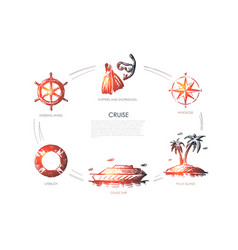 Cruise - steering wheel lifebuoy cruise ship vector