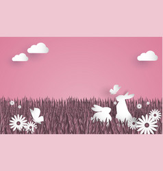 cute easter greeting background vector image