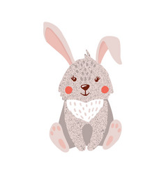 cute hand drawn hare isolated on white vector image