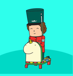 Cute imaginary toy soldier riding horse vector