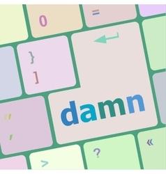 Damn word on computer keyboard key vector