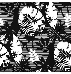 Decorative textured tropic leaves seamless pattern vector