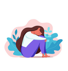 Depressed sad lonely woman in anxiety sorrow vector