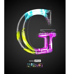 Design Light Effect Alphabet Letter G vector image