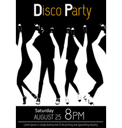 Disco party flyer closeup of legs dancing vector