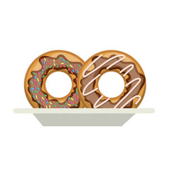 Donuts with chocolate glaze on dish in colorful vector